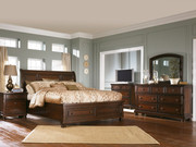 Ashley Porter Rustic Brown 8 Pc. Dresser, Mirror, Media Chest, California King Sleigh Bed & 2 Nightstands