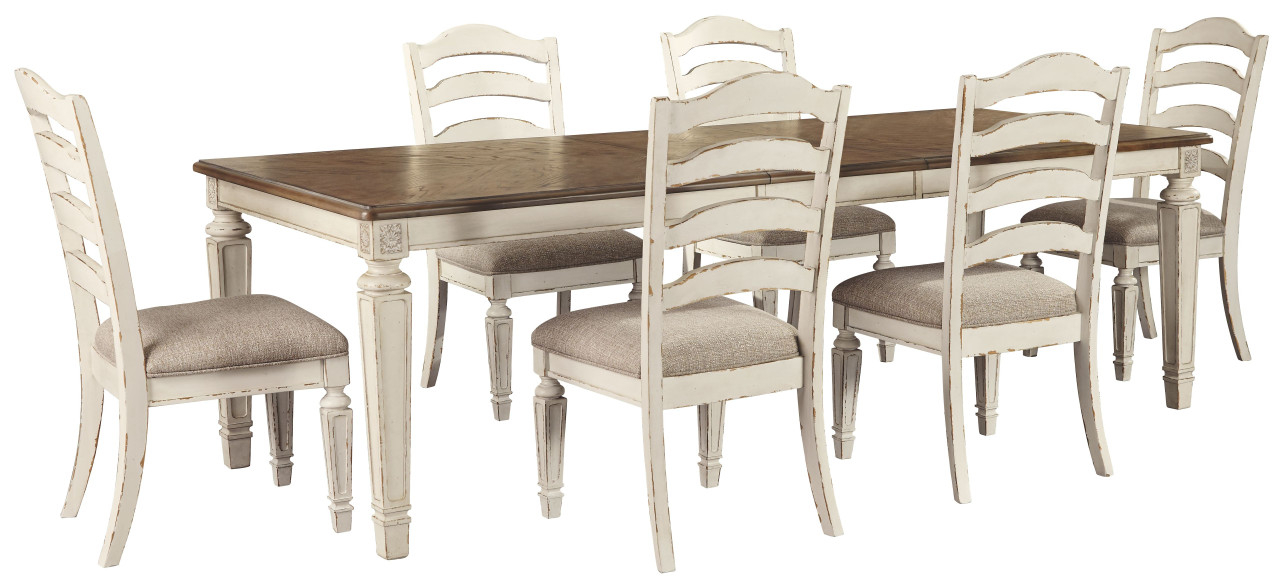 Ashley Realyn 7 Pc. Dining Room Set: Rectangular Table with Leaf and 6  Ladderback Side Chairs