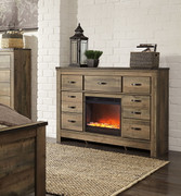 Ashley Trinell Brown Dresser with Glass/Stone Fireplace Insert