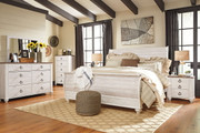 Ashley Willowton Whitewash 5 Pc. Dresser, Mirror & King Sleigh Bed