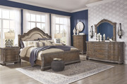 Ashley Charmond Brown 8 Pc. Dresser, Mirror, Chest, Queen Upholstered Sleigh Bed & 2 Nightstands