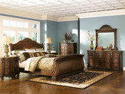 Ashley North Shore Dark Brown 6 Pc. Dresser, Mirror, Chest & King Sleigh Bed