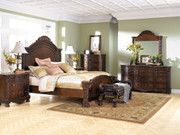 Ashley North Shore Dark Brown 7 Pc. Dresser, Mirror, Queen Panel Bed & 2 Nightstands