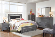 Ashley Lodanna Gray 6 Pc. Dresser, Mirror, Full Panel Bed with Storage & Nightstand