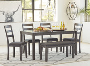 Ashley Bridson Gray Rectangular Table Set (6/CN)