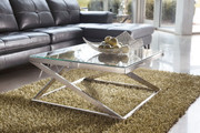 Ashley Coylin Brushed Nickel Finish Square Cocktail Table