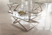 Ashley Coylin Brushed Nickel Finish Square Cocktail Table & 2 Square End Tables