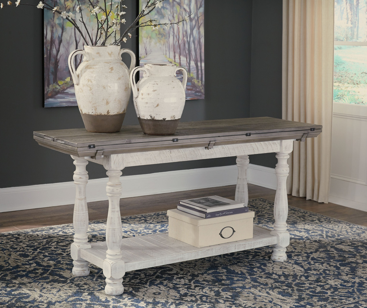 Ashley Havalance Gray White Flip Top Sofa Couch Table