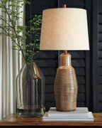 Ashley Calixto Taupe Terracotta Table Lamp (1/CN)
