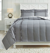 Ashley Meghdad Gray/White Full Comforter Set