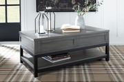 Ashley Caitbrook Gray/Black Rect Lift Top Cocktail Table