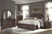 Ashley Adinton Brown 5 Pc. Dresser, Mirror & Queen Panel Bed with Storage