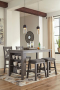 Ashley Caitbrook Dark Gray 5 Pc. Rectangular DRM Counter Table, 2 Upholstered Stools & 2 Upholstered Barstools