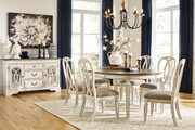 Ashley Realyn Chipped White 8 Pc. Oval DRM Extension Table, 6 Upholstered Side Chairs & DRM Server