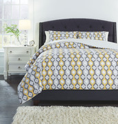 Ashley Mato Gray/Yellow/White Queen Comforter Set