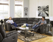 Ashley Tambo Pewter 3 Pc. Left Arm Facing Reclining Loveseat, Right Arm Facing Reclining Loveseat & Rocker Recliner