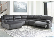 Ashley Clonmel Charcoal LAF Press Back Chaise, Armless Chair, Wedge, Armless Recliner & RAF Zero Wall Recliner Sectional