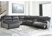 Ashley Clonmel Charcoal LAF Press Back Chaise, Armless Chair, Wedge, Armless Recliner, Console with Storage & RAF Zero Wall Recliner Sectional