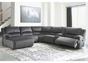 Ashley Clonmel Charcoal LAF Press Back Power Chaise, Armless Chair, Wedge, Armless Recliner, Console with Storage & RAF Zero Wall Power Recliner Sectional
