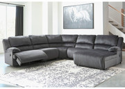 Ashley Clonmel Charcoal LAF Zero Wall Recliner, Armless Recliner, Wedge, Armless Chair & RAF Press Back Chaise Sectional