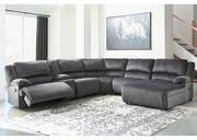 Ashley Clonmel Charcoal LAF Zero Wall Recliner, Console with Storage, Armless Recliner, Wedge, Armless Chair & RAF Press Back Chaise Sectional