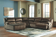 Ashley Clonmel Chocolate LAF Press Back Chaise, Armless Chair, Wedge, Armless Recliner & RAF Zero Wall Recliner Sectional