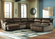 Ashley Clonmel Chocolate LAF Zero Wall Power Recliner, Armless Recliner, Wedge, Armless Chair & RAF Press Back Power Chaise Sectional