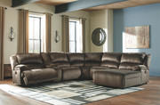 Ashley Clonmel Chocolate LAF Zero Wall Power Recliner, Console with Storage, Armless Recliner, Wedge, Armless Chair & RAF Press Back Power Chaise Sectional