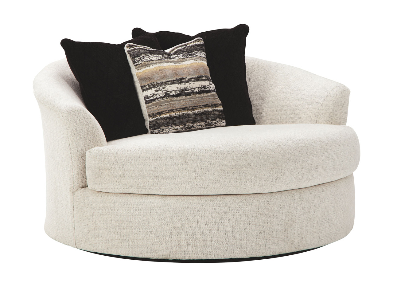 Ashley Cambri Snow Oversized Round Swivel Chair on sale at ...