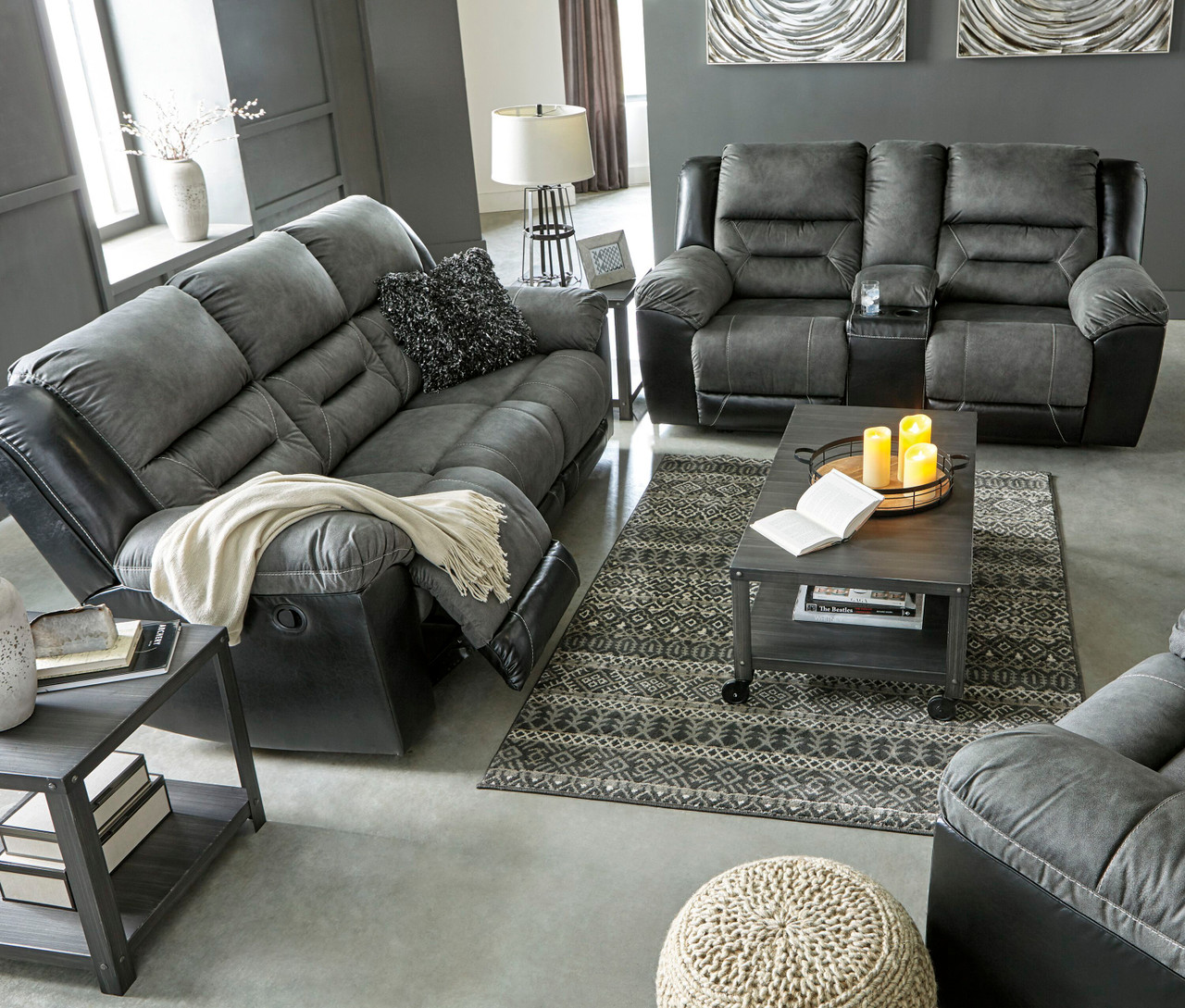 Ashley Earhart Slate Reclining SofaCouch, Double Reclining Loveseat with Console & Rocker Recliner