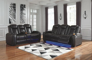 Ashley Party Time Midnight Power Reclining Sofa/Couch with ADJ Headrest & Power Reclining Loveseat/CON/ADJ HDRST