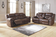 Ashley Stoneland Chocolate Reclining Sofa/Couch & Double Reclining Loveseat with Console
