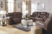 Ashley Stoneland Chocolate Reclining Sofa/Couch, Double Reclining Loveseat with Console & Rocker Recliner
