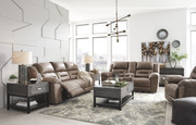 Ashley Stoneland Fossil Reclining Power Sofa/Couch, Double Reclining Power Loveseat with Console & Power Rocker Recliner