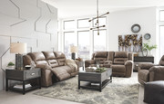 Ashley Stoneland Fossil Reclining Sofa/Couch, Double Reclining Loveseat with Console & Rocker Recliner