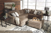 Ashley Graftin Teak LAF Corner Chaise, Armless Loveseat, RAF Sofa/Couch with Corner Wedge Sectional & Ottoman