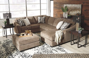 Ashley Graftin Teak LAF Sofa/Couch with Corner Wedge, Armless Loveseat, RAF Corner Chaise Sectional & Ottoman