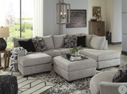 Ashley Megginson Storm LAF Sofa/Couch Chaise, RAF Corner Chaise Sectional, Round Swivel Chair & Ottoman With Storage
