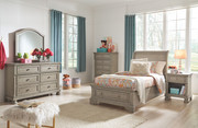 Ashley Lettner Light Gray 5 Pc. Dresser, Mirror & Twin Sleigh Bed
