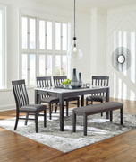 Ashley Luvoni White/Dark Charcoal Gray 6 Pc. Rectangular Table, 4 Upholstered Side Chairs & Upholstered Bench