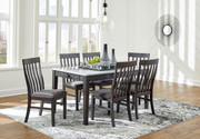 Ashley Luvoni White/Dark Charcoal Gray 7 Pc. Rectangular Table & 6 Upholstered Side Chairs