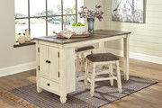 Ashley Bolanburg Two-tone 3 Pc. Rectangular Counter Table & 2 Upholstered Stools