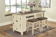 Ashley Bolanburg Two-tone 5 Pc. Rectangular Counter Table & 4 Upholstered Stools