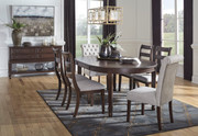 Ashley Adinton Reddish Brown 7 Pc. Oval Extension Table, 4 Upholstered Side Chairs & 2 Side Chairs