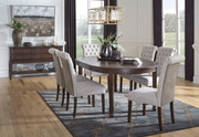 Ashley Adinton Reddish Brown 7 Pc. Oval Extension Table & 6 Upholstered Side Chairs