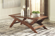 Ashley Charzine Warm Brown Rectangular Cocktail Table