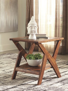 Ashley Charzine Warm Brown Rectangular End Table