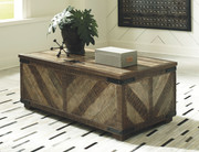 Ashley Cordayne Rustic Brown Rect Storage Cocktail Table