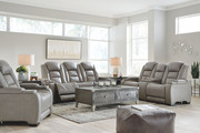Ashley The Man-Den Gray Power Reclining Sofa/Couch with ADJ HDRST, Power Reclining Loveseat/CON/ADJ HDRST & Power Recliner/ADJ HDRST