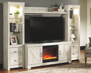 Ashley Bellaby Whitewash Entertainment Center LG TV Stand, 2 Piers, Bridge with Fireplace Insert Glass/Stone